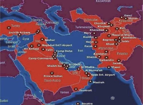 نقشه ی پایگاه های نظامی آمریکا در اطراف ایران