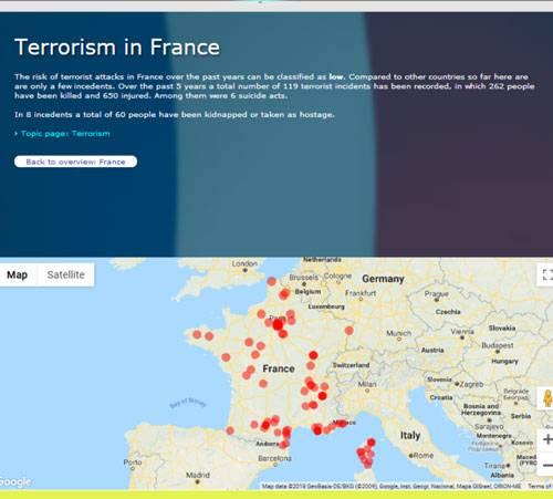 فراوانی عملیات های تروریستی فرانسه