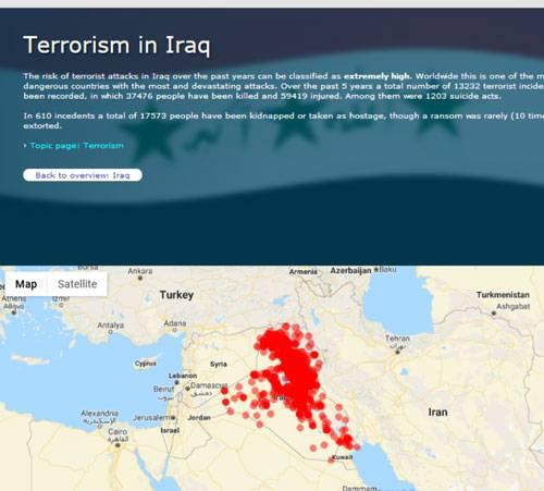فراوانی عملیات های تروریستی در عراق